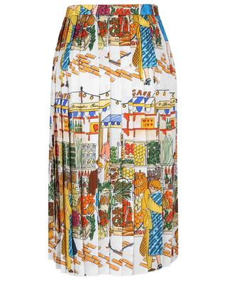 Vegan Love market scenery printed pleated midi skirt in silk blend ALESSANDRO ENRIQUEZ