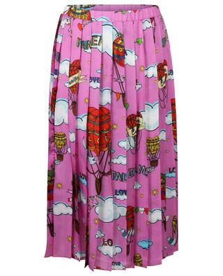 Love Hot Air balloon printed pleated midi skirt in silk blend ALESSANDRO ENRIQUEZ