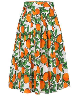 Tangerine printed pleated cotton midi skirt ALESSANDRO ENRIQUEZ