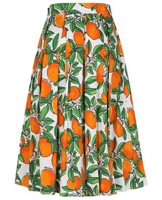 Tangerine printed pleated cotton midi skirt ALESSANDRO ENRIQUEZ