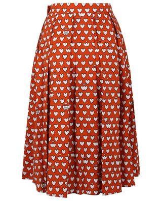 Heart printed pleated cotton midi skirt ALESSANDRO ENRIQUEZ