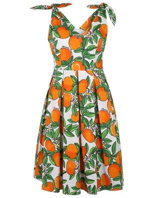 Tangerine printed poplin strappy dress ALESSANDRO ENRIQUEZ