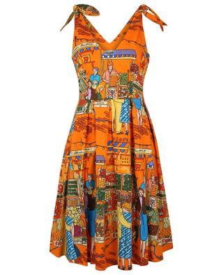 Vegan Love market printed poplin strappy dress ALESSANDRO ENRIQUEZ