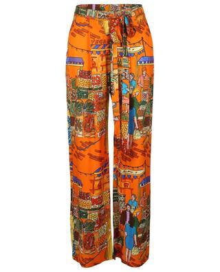 Pantalon large imprimé scène de marché Vegan Love ALESSANDRO ENRIQUEZ