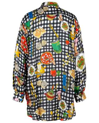Ristorante print oversized gingham check shirt ALESSANDRO ENRIQUEZ
