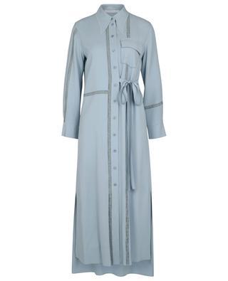 Robe chemise longue en crêpe et dentelle détail liens CHLOE