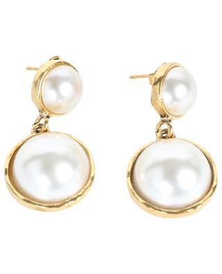 Boucles d'oreilles dorées ornées de perles STON6 POGGI