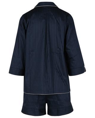 Gestreifte Baumwollsatin-Pyjamashorts Luxury Swiss Voile ZIMMERLI