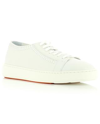 Full grain leather sneakers with stitching SANTONI