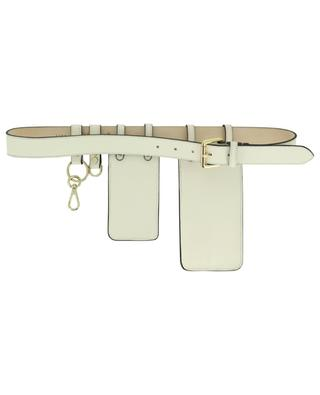 White leather belt with accessories N.D.V PROJECT