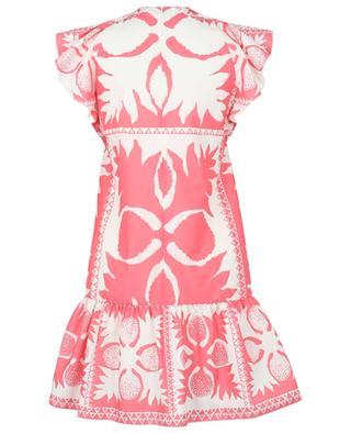Kurzes Kleid mit Schoss und Print Floral Damier RED VALENTINO