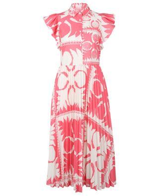 Robe chemise midi plissée imprimée Flower Damier RED VALENTINO