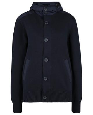 Cotton button-down cardigan with water-repellent nylon hood HERNO