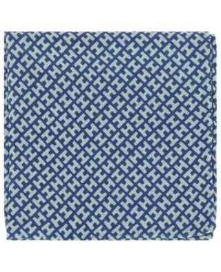 Monogrammed cashmere and silk pocket square HEMISPHERE