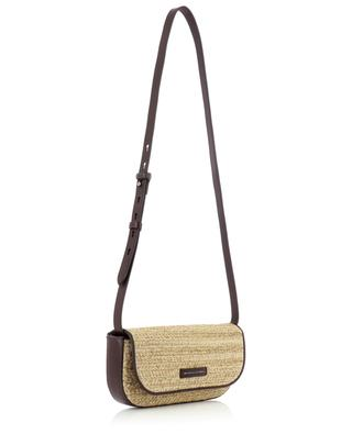 Chevron patterned technical raffia and leather shoulder bag BRUNELLO CUCINELLI