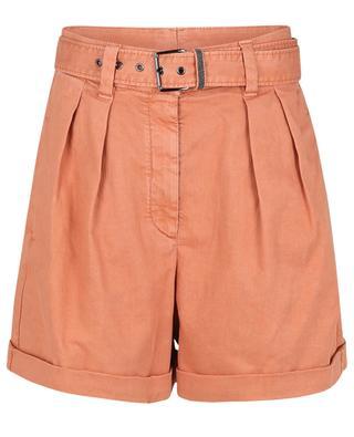 High-rise denim shorts with Monile embellished belt BRUNELLO CUCINELLI