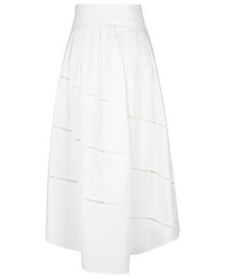 Full Volume pleated poplin skirt with openwork embroideries BRUNELLO CUCINELLI