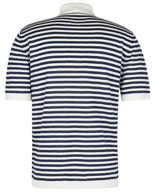 Striped linen knit polo shirt with short sleeves MAURIZIO BALDASSARI