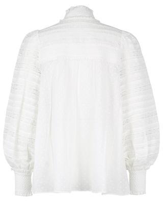 Gesmoktes Hemd aus getupfter Baumwolle mit Spitze Candescent ZIMMERMANN