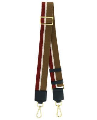 Striped fabric and leather shoulder strap GIANNI CHIARINI