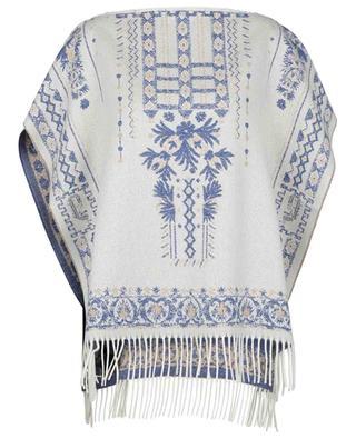 Poncho jacquard en cachemire motifs ethniques ETRO