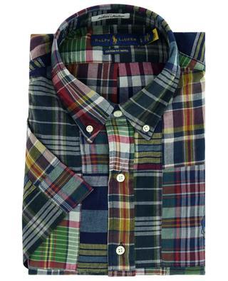 Chemise à manches courtes à patchwork carreaux Custom Fit Indigo POLO RALPH LAUREN