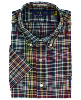 Chemise à manches courtes en coton à carreaux Custom Fit Indigo POLO RALPH LAUREN