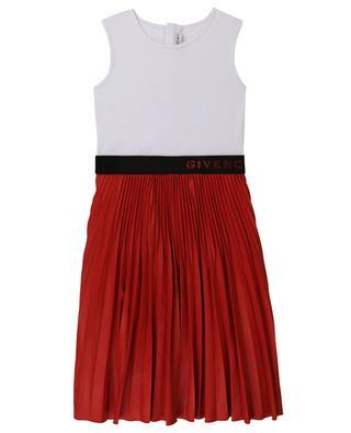 Pleated sleeveless girls' dress with logo waist GIVENCHY