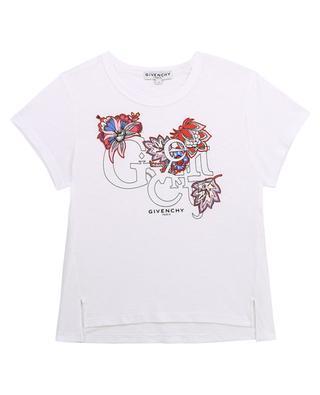 T-shirt fille en coton flammé imprimé logo et fleurs GIVENCHY