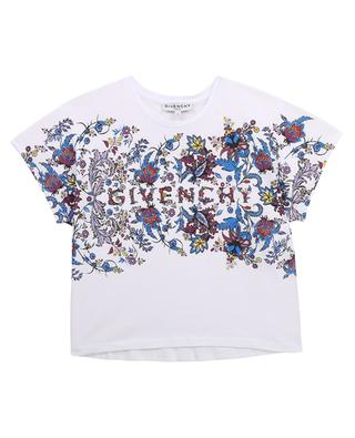 Girls' boxy t-shirt with fanciful flowers GIVENCHY