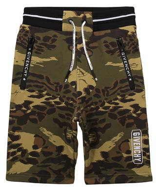 Boys' fleece shorts with camouflage print and logo GIVENCHY