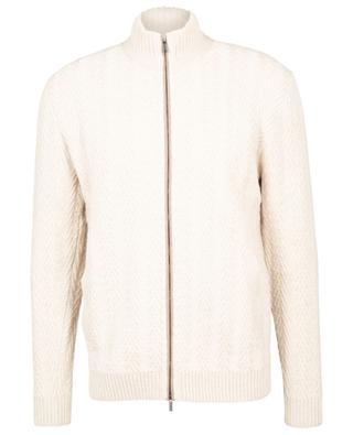 Zippered cashmere cardigan with braid pattern MAURIZIO BALDASSARI