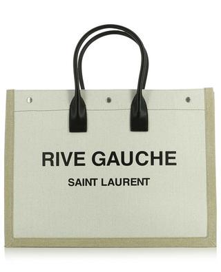 Rive Gauche linen and leather tote bag SAINT LAURENT PARIS