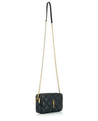 Petit sac porté épaule en cuir matelassé Becky Double-Zip Pouch SAINT LAURENT PARIS