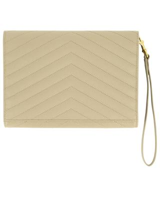 Clutch aus gestepptem Grain de Poudre-Leder Monogram SAINT LAURENT PARIS
