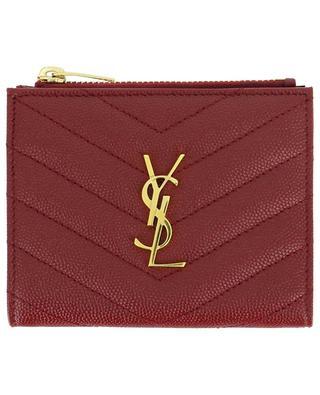 Monogram quilted zipped grain de poudre leather card case SAINT LAURENT PARIS
