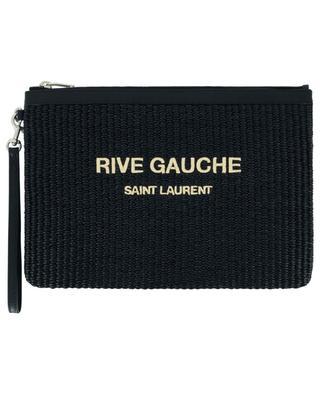 Pochette en raphia et cuir Rive Gauche SAINT LAURENT PARIS