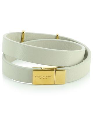 Opyum monogrammed leather and golden metal double bracelet SAINT LAURENT PARIS
