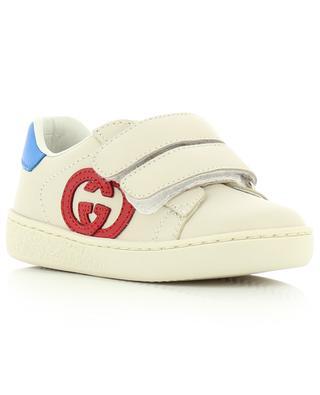 Kleinkind-Sneakers aus Leder mit Klett und GG-Monogramm Ace GUCCI