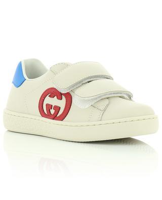 Ace Interlocking G Leder Kinder-Sneakers mit Klettverschluss GUCCI