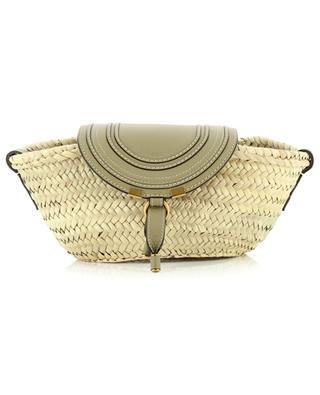 Marcie small raffia and leather basket with shoulder strap CHLOE