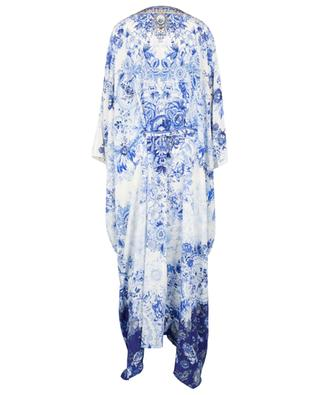 High Tea Lace-Up long printed silk caftan CAMILLA