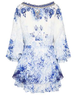 High Tea Tiered off-shoulder silk mini dress CAMILLA