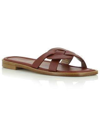 Sierra braided nappa leather flat open-toe mules STUART WEITZMAN