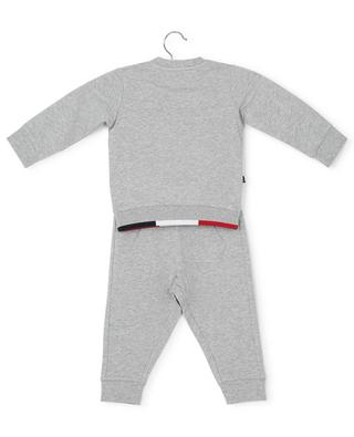 Heather grey toddler tracksuit with tricolour detail MONCLER