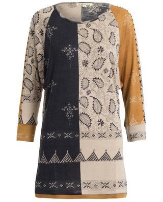 Bedruckte Tunika aus Seide, Wolle und Kaschmir PASHMA