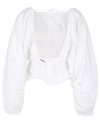 Bluse mit offenem Rücken aus Baumwolle und durchbrochenen Stickereien GANNI