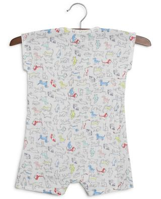 Dog and bunny printed cotton gauze rompers PETIT BATEAU