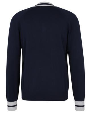 Lightweight cotton jumper with raglan sleeves and striped V-neckline BRUNELLO CUCINELLI