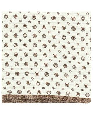 Reversible silk pocket square, circles and flowers BRUNELLO CUCINELLI